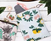 Tropical Bon Voyage Print Fabric Zipper Field Pouch
