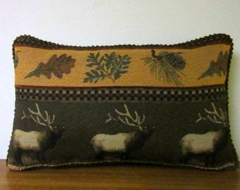 Cabin Lumbar Pillow Lodge Pillow Elk Tapestry Pillow Gift for Dad Hunter Throw Pillow Decorator Woodlands