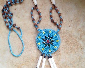 Vintage Native American Beaded Medallion Necklace