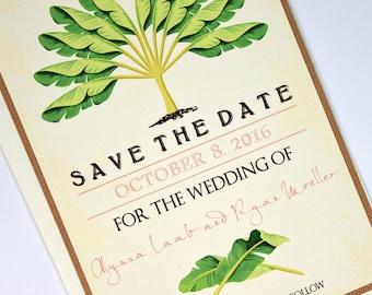 Vintage Tropical Banana Tree Beach Destination Wedding Save the Date