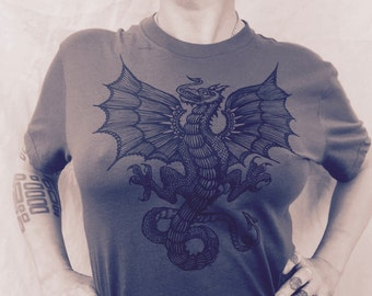 Wyvern Dragon Grey T-shirt St George Heraldry Boho Celtic Made In USA Sm M L XL XXL