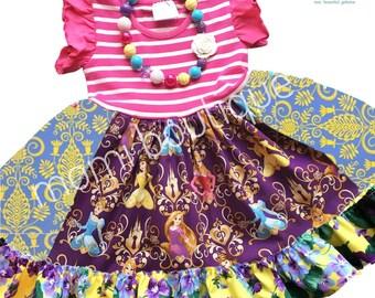 Disney Princess Belle Cinderella Rapunzel Sleeping Beauty dress Momi boutique custom dress