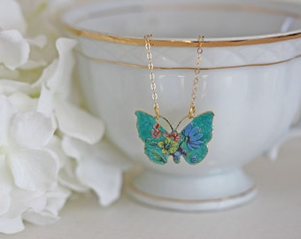 Butterfly Necklace Enamel  Necklace  Cloisonne  Butterfly Necklace Cloisonne Jewelry