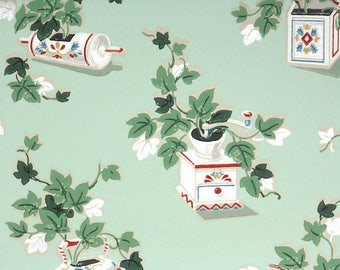 1940s Vintage Wallpaper by the Yard - Vintage Kraft Paper with Kitsch Kitchen Coffee Grinder and Ivy