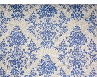 1940s Vintage Wallpaper by the Yard - Vintage Kraft Paper Extra Wide Floral Blue Damask
