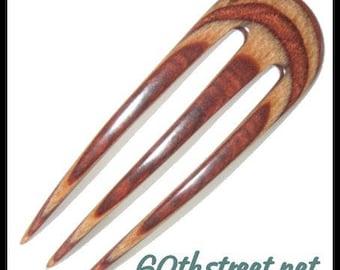 3 Prong 4 inch Abby Style Hair Fork made of Crimson Ironwood Dymondwood - 6189AB
