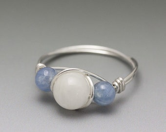 White Moonstone & Blue Kyanite Sterling Silver Wire Wrapped Bead Ring - Made to Order, Ships Fast!