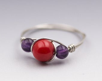 Red Coral & Amethyst Sterling Silver Wire Wrapped Bead Ring - Made to Order, Ships Fast!
