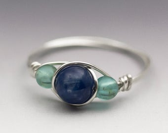 Blue Kyanite & Neon Apatite Sterling Silver Wire Wrapped Bead Ring - Made to Order, Ships Fast!