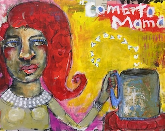 Come to Mama, Outsider, Mixed Media Painting, Folk Art, Collage, Mystele