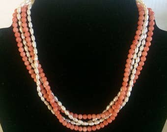 Vintage 4 Strand Pearl & Coral Necklace, Freshwater Pearls and Coral Beads, Sterling Silver Engraved Clasp