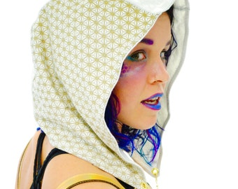 Sacred Geometry Hood with Infinity Chain, Seed of Life Hood, Festival Clothes, Gypsy Hippie