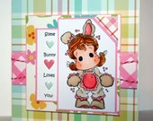 Adorable handmade Bunny card perfect for Valentines Day or Easter featuring Tilda