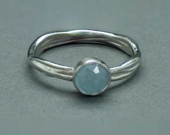 Aquamarine, 14k White Gold Vine Engagement Ring.