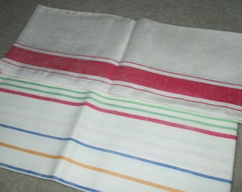 Vintage Red Striped Linen Kitchen Dish Tea Towel Pair Towels