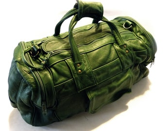 Vintage Vibrant Green Leather Duffle Bag Carry On Luggage