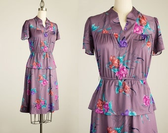 80s Vintage Lavender Floral Print Day Dress / Size Small