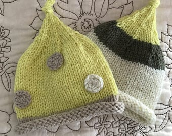 Twin Newborn Baby Pixie Hats Photo Prop Set Bring Home the Twin New Babies Yellow Neutral and Polka Dots