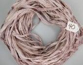 Silk Sari Ribbon, Sari silk ribbon, recycled ribbon, Rose Quartz ribbon, mauve ribbon, weaving supply, silk ribbon, weaving supply