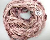 Silk Sari Ribbon, Sari silk ribbon, recycled ribbon, Rose Quartz sari ribbon, weaving supply, knitting supply, crochet supply