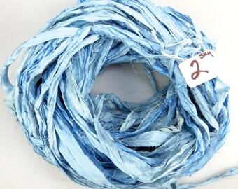 Sari Silk Ribbon, Recycled Silk Sari Ribbon, blue sari ribbon, Light blue Sari ribbon, jewelry supply, weaving supply, knitting supply