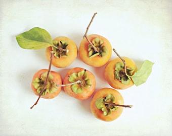 "Food Photography fresh persimmons kitchen art orange fruit still life photography print ""Six Fuyu"""