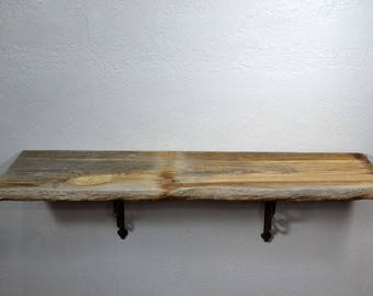 "Big wall shelf reclaimed barnwood 35.5"" long,11"" deep and 10.5"" tall with brackets"