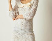 ON SALE Vintage White Mod Lace Dress
