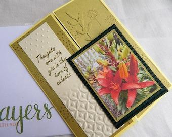 Handmade Sympathy Card: Christian, iris, greeting card, green, complete card, handmade, balsampondsdesign, faith