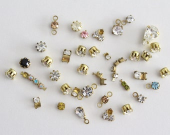 ONLY LOT - Vintage lot small brass preset stones rhinestones brass settings (over 30)