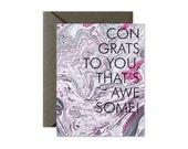 CONGRATULATIONS Grey Hot Pink Marble Greeting Card / Graduation /New Home / New Job - Single Card