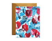MAKE IT EPIC Blue and Red Floral Greeting Card/ Handpainted / Gold - Single Card / Best Seller
