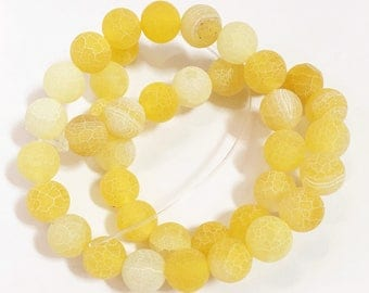 14 inch strand of Light yellow agate , frosted cracked agate round 10mm