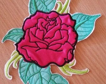 Large Rose with Leaves Embroidered  Iron/Glue/Sew On Patch