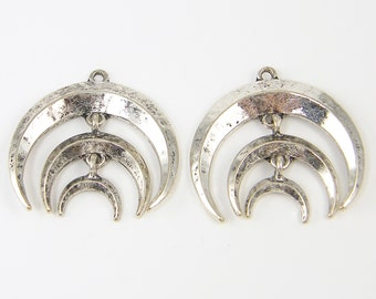 Silver Crescent Earring Findings, Tiered Earring Dangles, Silver Double Horn Earring Findings Triple Moon Earring Findings |S17-15|2