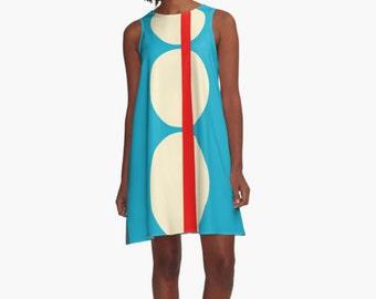 Woman Dress, Modern Dress, Geometric Dress, Dress for Woman, Blue Dress, Girl Dress, Colorful Dress, summer dress, Gifts for her