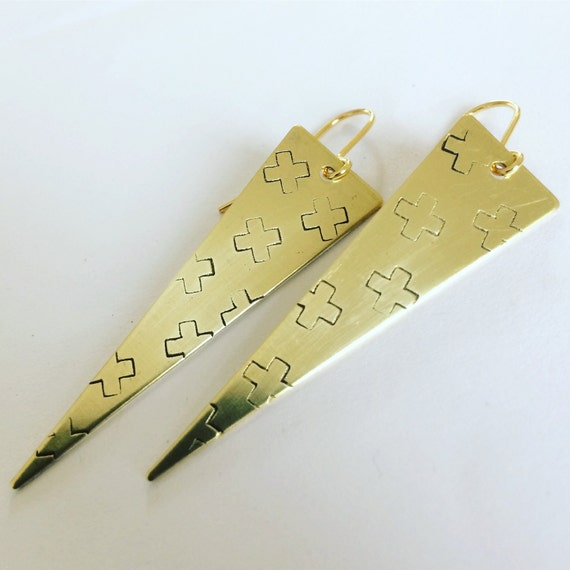 Long Triangle Cross Design Raw Brass Earrings in Raw Brass - Geometric - Modern -