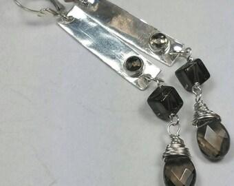 Smoky Quartz Earrings, Long Dangle Earrings, Hammered Panel Earrings, Brown Earrings, Long Gemstone Earrings, by Maggie McMane Designs