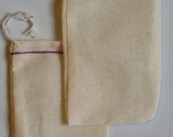 500 3x5 inch  Lavender Hem Double Drawstring Cotton Muslin Bags
