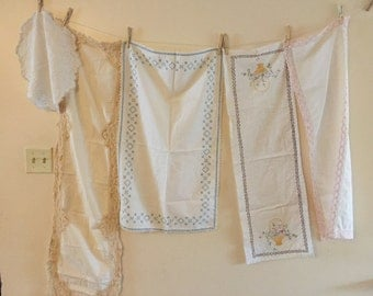 Vintage Linens Lot Cotton and Linen dresser scarves table runners