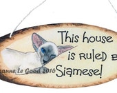 Original Bluepoint SIAMESE CAT hanging SIGN by Suzanne Le Good