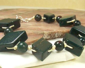 Green Bracelet, Gemstone Bracelet, Cream Bracelet, Bloodstone Bracelet, Nylon Bracelet, Sterling Silver Bracelet, Knotted Bracelet