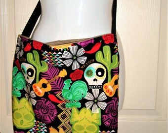 Fiesta Sugar Skull Tote Bag Pocket Inside Magnetic Clasp  17.5X15x4  MADE IN AMERICA