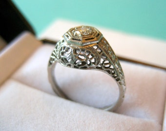 SALE..Art Deco 18kt White Gold Hand Engraved 0.15 Carat Diamond Filigree Ring