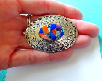 Navajo Sterling Silver and Multi-Gemstone Mosaic Inlay Brooch