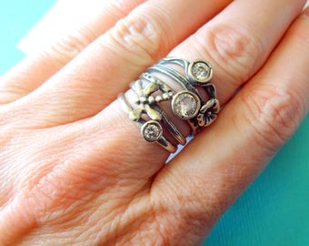 Sterling Silver Stacked Dragonfly and Flower Ring Size 6.5
