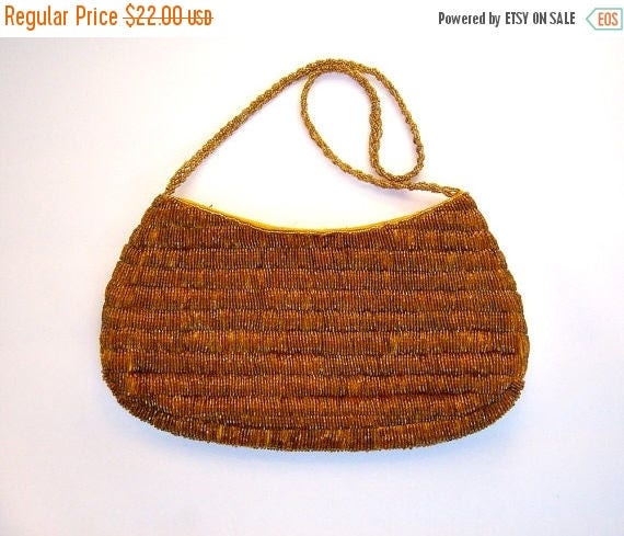 40% MOVING SALE Vintage beaded handbag / GOLD caramel coppery sparkly beads / evening purse / romantic date night clutch
