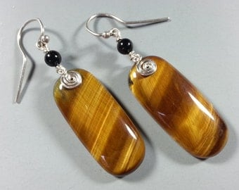 Glowing GoldenTiger Eye and Sterling Silver Earrings with Black Onyx