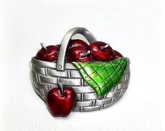 Apple Basket JJ pin Jonette brooch vintage jewelry Harvest Fruit pewter