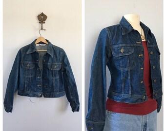Vintage Lee riders dark wash jean jacket Tiny fit denim jacket
